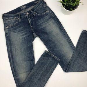 AGOLDE Low Rise Slim/Skinny Jeans in Medium Wash